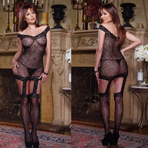 Bodystocking nylon luipaard 3029p