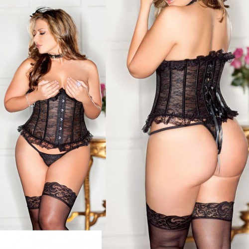 Bustier Corset black lace 2207 MyFetishCandy